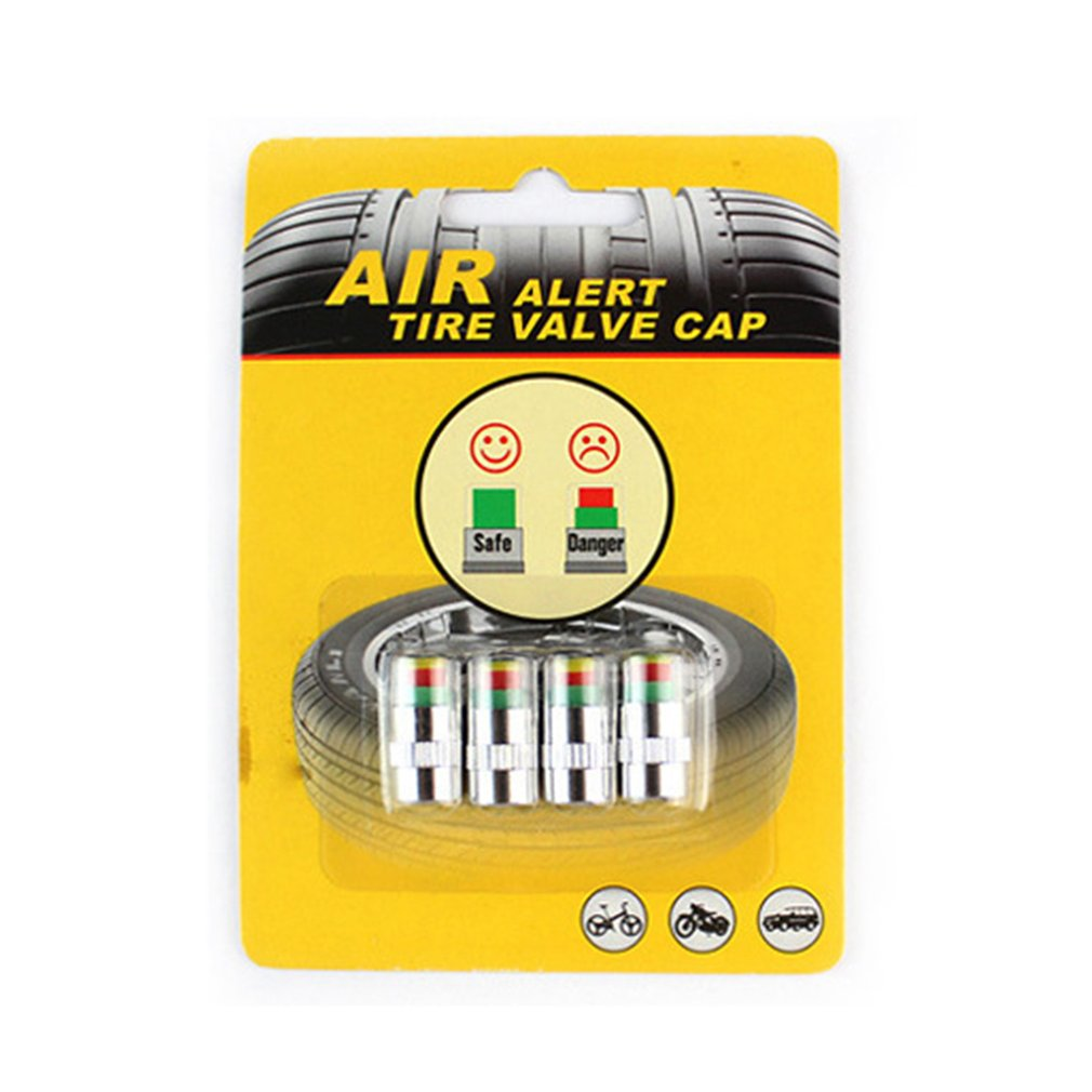 4pcs/set Car Tire Pressure Sensor Monitor Valve Stem Caps Air Alert Tire Valve Cap Light Indicator Tester