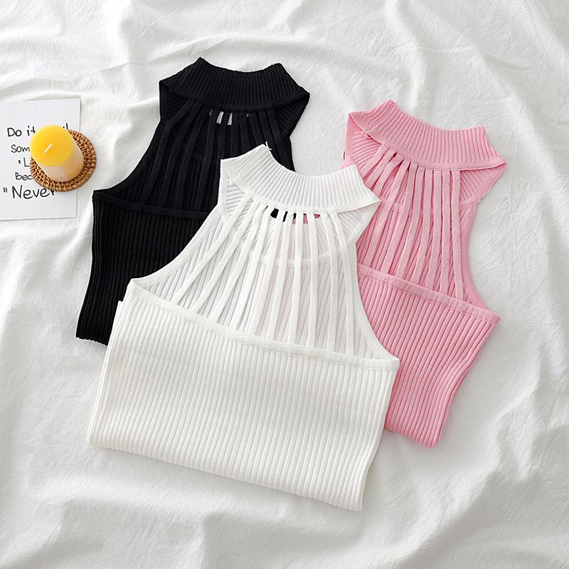 Tank-Tops Woman Vest Knitted Streetwear O-Neck Chic Sexy Female HALTER Summer Sleeveless
