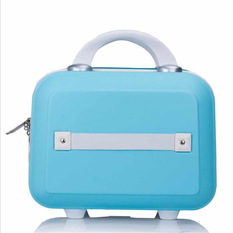 Kadın Çantası moda ışık Bavul 14 Inç Mini Fermuar Bayan Iş ABS Kozmetik Çantası Bavul Makyaj Çantası makyaj çantaları
