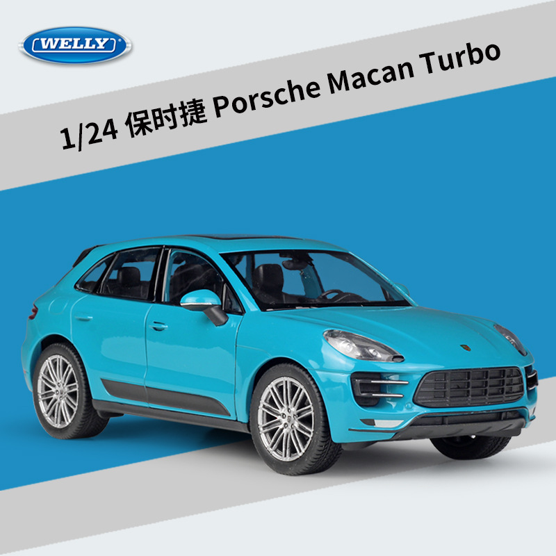 WELLY 1:24 Diecast Car Metal Porsche Macan Cayenne Turbo Toy Vehicles SUV Alloy Model Car Toy Car For Kids Gift Collection