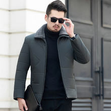 Winter Männer Elegante Puffer Parkas Smart Casual Puff Basic Mäntel Schwarz Grau Verdicken Fleece Pelz Kragen Leichte Stepp Jacken(China)