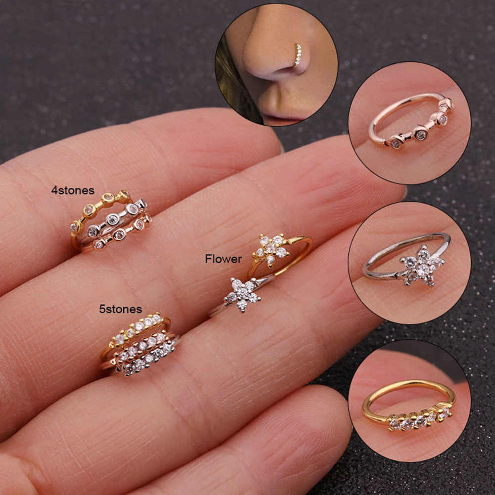 1PC Silver And Gold Color 20gx8mm Nose Piercing Jewelry Cz Nose Hoop Nostril Ring Flower Helix Cartilage Tragus Earring