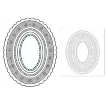 2021 New Oval Wavey Lace Frame Metal Cutting Dies and Background Die Paper Cut Scrapbooking For Crafts Card Making no Stamps Set image