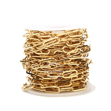 1 Meter Stainless Steel 6.5mm Width Gold Paperclip Chains Flat Oval Cable Chain For DIY Long Necklace Bracelet Making Findings