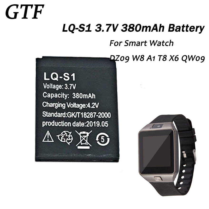 GTF LQ-S1 Smart Watch Battery 3.7V 380mAh Rechargeable Li-ion Polymer Battery For Smart Watch HLX-S1 DZ09 W8 T8 A1 V8 X6 Cells