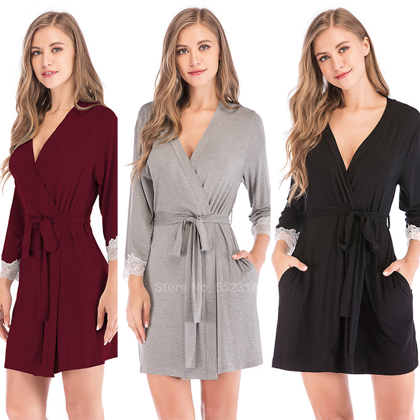 Bridesmaid Robes For Women Modal Cotton Sexy Lace V-neck Lounge Bathrobe With Belt Comfortable Female Home Sleepwear Dressing