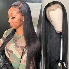 Парик женский прямой длиной 30/40 дюймов, с фронтальной сеткой 13x4 Hd, с предварительно выщипанными волосами высокой плотности, бразильский