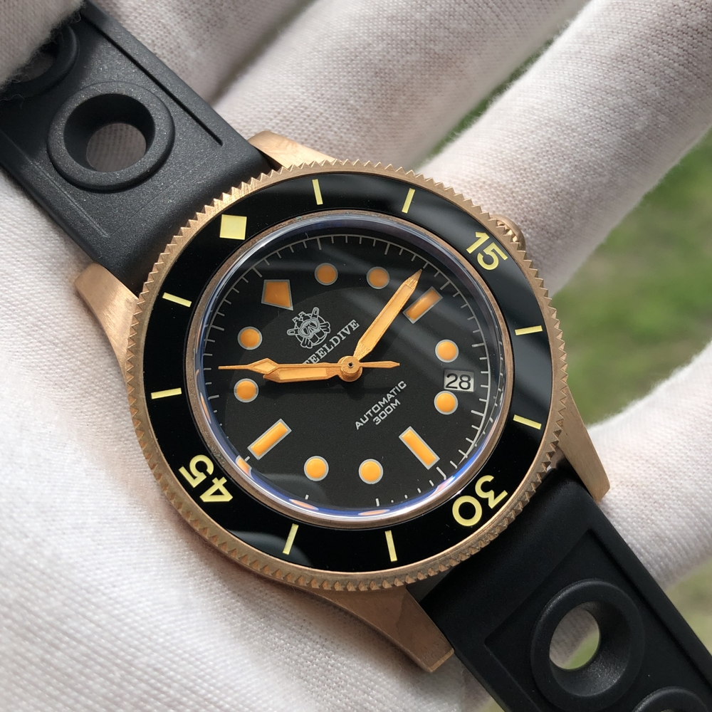 Diver watch shark watch 200M waterproof automatic watch sapphire crystal bronze luxury mechanical watch diving New color 1952S