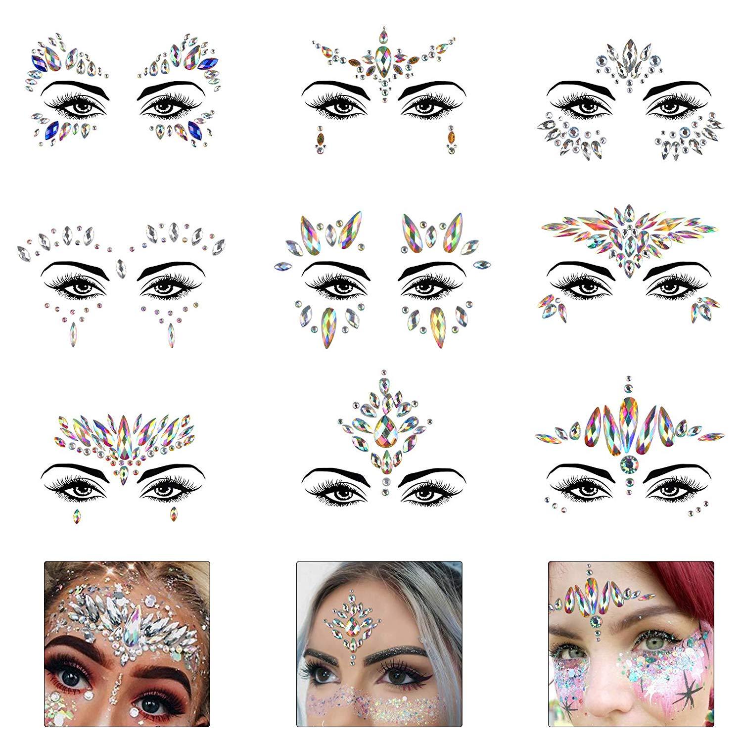 FEECOLOR 9 Pack Glitter Face Gems Rhinestone Temporary Tattoo Mermaid Jewels Crystal Eyebrow Body Sticker for Rave Festival