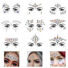 FEECOLOR 9 Pack Glitter Face Gems Rhinestone Temporary Tattoo Mermaid Jewels Crystal Eyebrow Body Sticker for Rave Festival