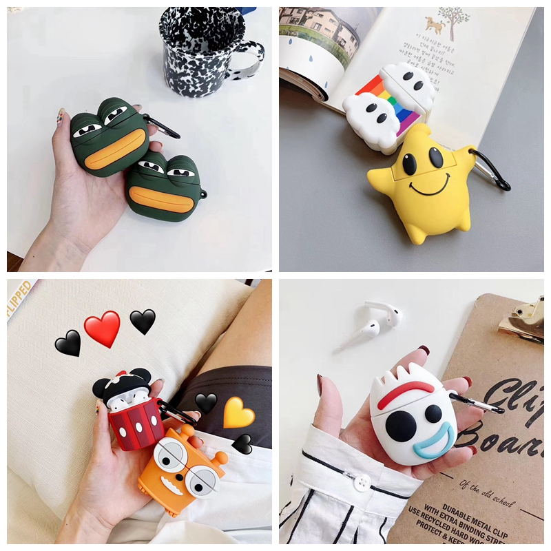 For AirPods Case Cute Cartoon Sad Frog Earphone Cases For Apple Airpods 2 Soft Protect Cover with Carabine Hook