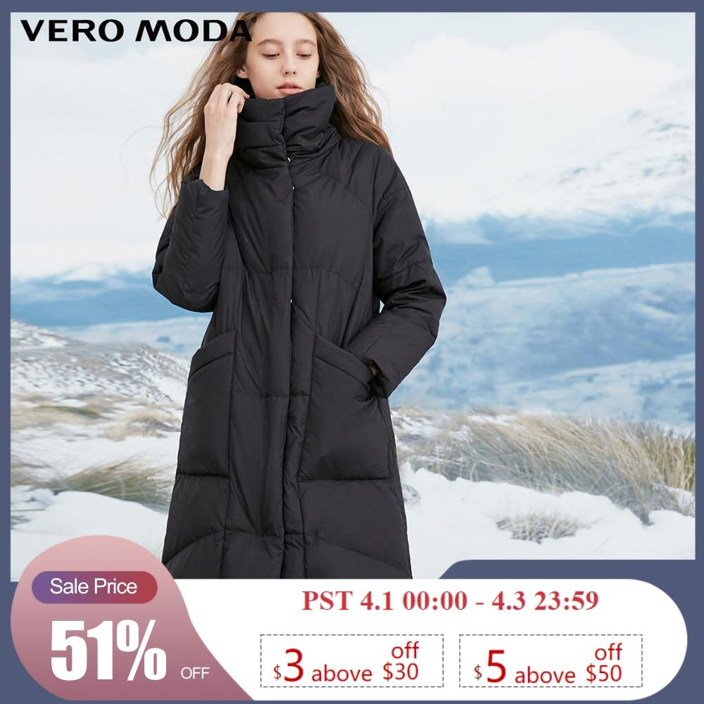 Vero Moda Women's High Collar Windproof  Sleeves 80% White Duck Down Long Down Jacket Parka Coat | 318412501