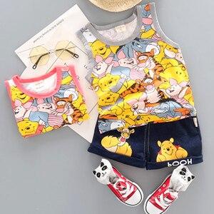 Hot Baby Boys Clothing Sets Brand Cartoon Bear Children Summer Boys Girl Clothes Kids Set Cotton T-shit + Short Pants(China)