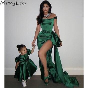 Женское атласное вечернее платье русалка, зеленое платье без рукавов со шлейфом, молнией и разрезом сбоку
