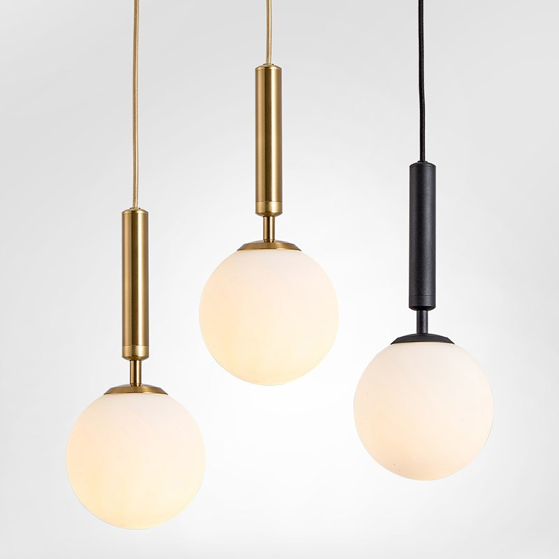 Modern Glass Ball Led Pendant Lamp Fixtures Bedside Gold Indoor Kitchen Hanging Lights Luminaire Dining Room Lighting Decoration
