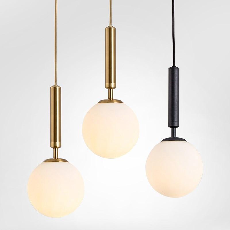 Modern Glass Ball Led Pendant Lamp Fixtures Bedside Gold Indoor Kitchen Hanging Lights Luminaire Dining Room Lighting Decoration|Pendant Lights|   - AliExpress