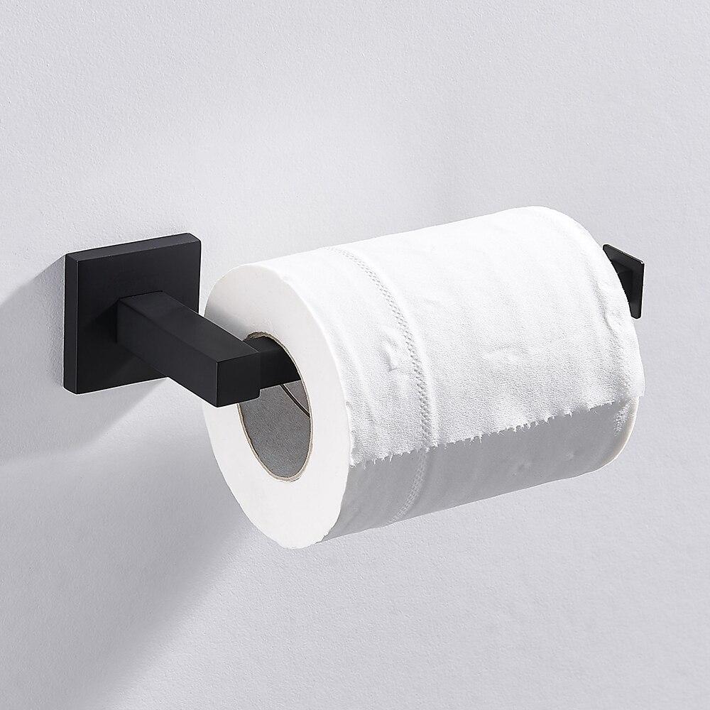 Bathroom Toilet Paper Holder Black Stainless Steel Waterproof Bathroom Accessories Kitchen Wall Mounted Toilet Roll Towel Shelf