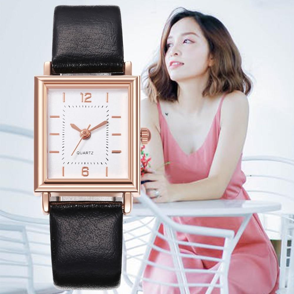 Hot Sale Rectangular Dial Women Watch Luxury Brand Quartz WristWatch Ladies Leather Strap Watch Clock Gift Montre Femme Relogio