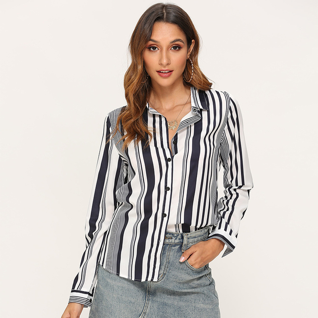 Blouses Women 2020 Leisure Long Sleeve Striped Shirt Turn Down Collar Lady Office Shirt Autumn Blouse Top Blusas Mujer Plus Size 3