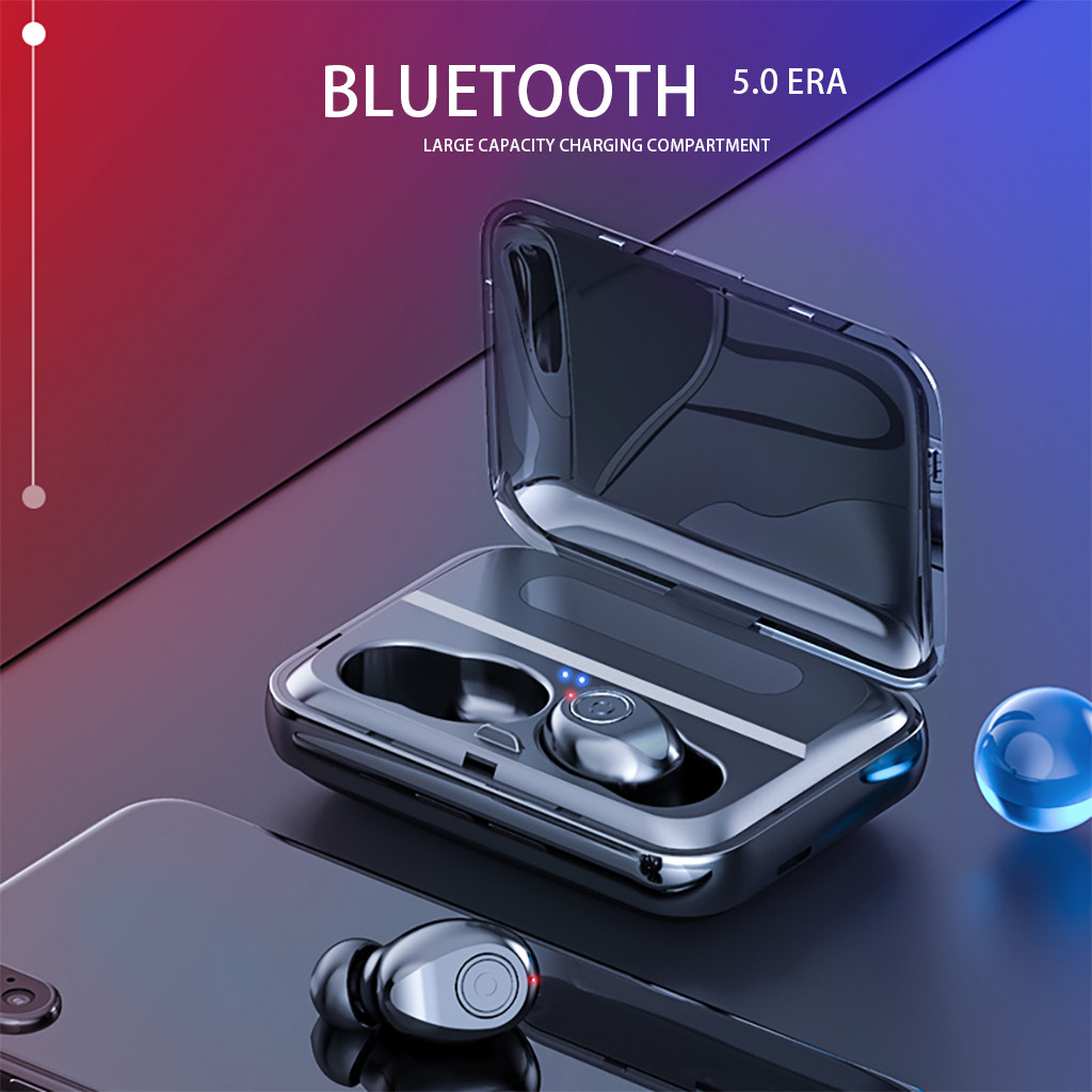 tWS Fingerprint Touch Bluetooth Earphones HD Stereo Twin Wireless Headphones Built-in Microphone with Charging Base