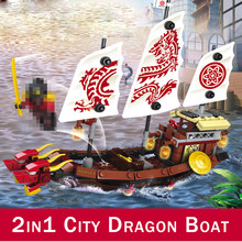 Destinyed Assegnato Ninjaed Dragon Boat 216 Building Blocks 207pcs Mattoni Per Bambini FAI DA TE Giocattolo Nave Compatibile FAI DA TE Serie Ninjagoingly(China)