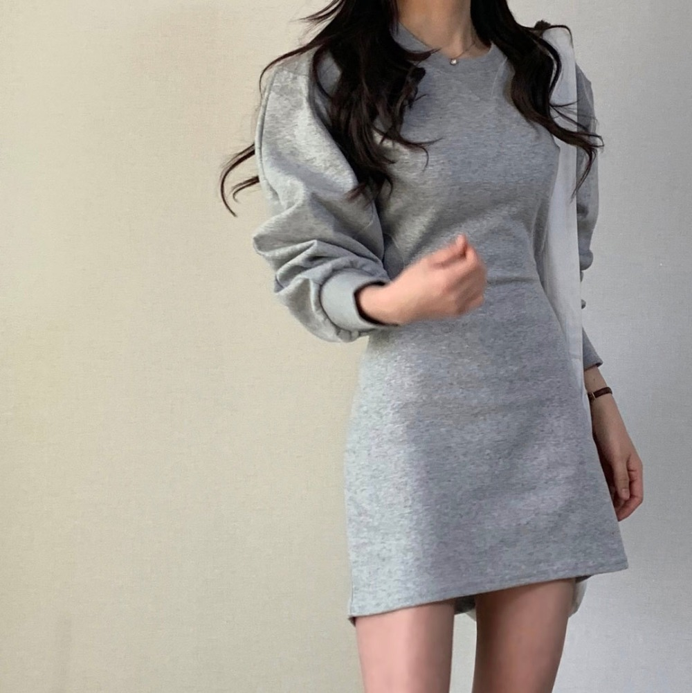 H948faea181934ca5b873a0d93e25a4f2i - Autumn O-Neck Long Sleeves Solid Backless Minimalist Mini Dress