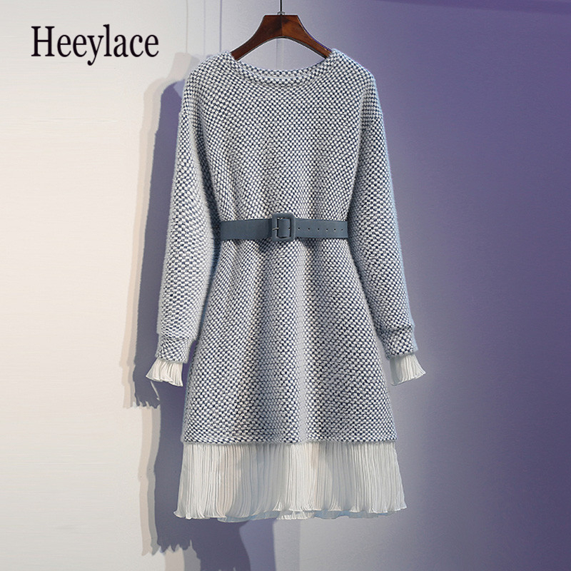 Plus Size Office Ladies Mini Sweater Dresses Winter Thick Warm Patchwork Ruffles Long Sleeve Knitted Dress Women Bodycon Dresses
