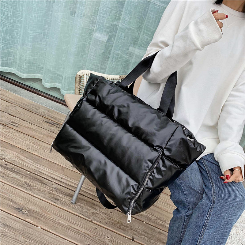 Image 2 - Winter new Large Capacity Shoulder Bag for Women Waterproof Nylon Bags Space Pad Cotton Feather Down Bag Large Bag with Shoulder    -