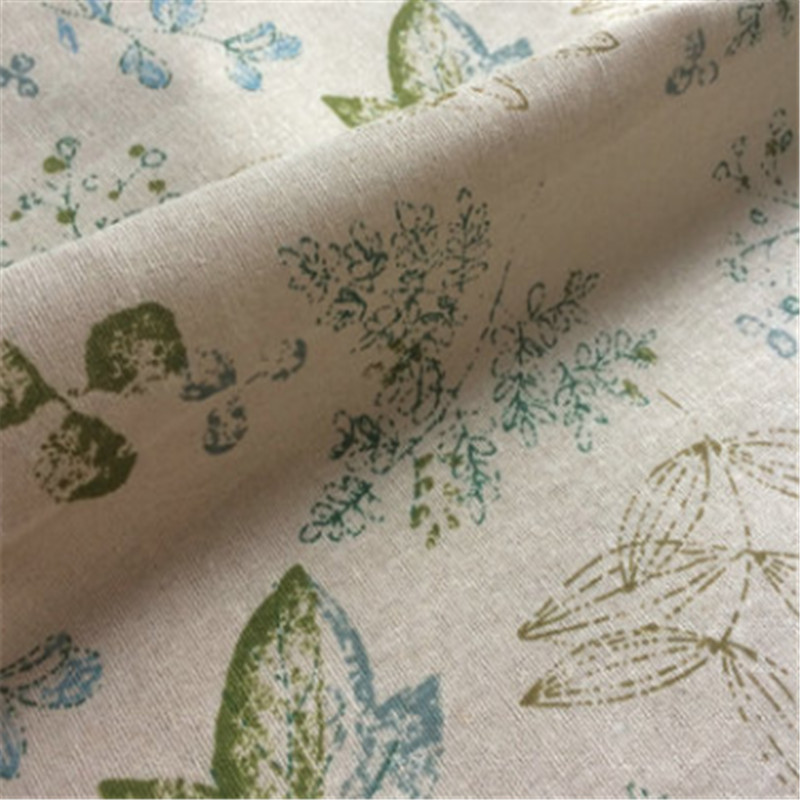 100*150cm Green Plant Printing Cotton Linen Cloth Tablecloth Curtain Hug Pillowcase Fabric Manual DIY Supplies