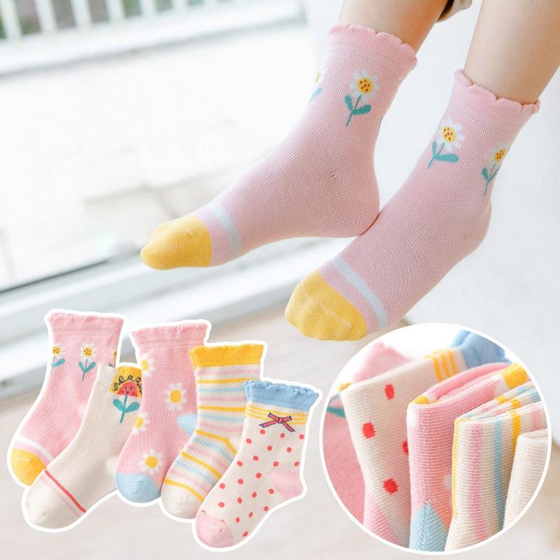 5 Pairs/lot Cute Cartoon Baby Girls Socks Winter Thicken Soft Kawaii Infant Toddler Socks Cotton Baby Boy Sports Socks for 1-12Y 2