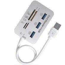 Leitor de cartão usb3.0 e hub de 3 portas usb, leitor de cartão de memória externo de alta velocidade para o cartão ms/m2/sd/tf/micro-sd