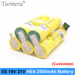 Battery 5S 18V 21V Lithium Battery Pack 18650 HE4 2500mah 20A 35A Discharge Current for Screwdriver Battery Shurik (customize)