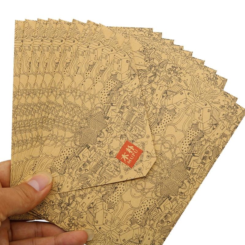10pcs/Set Of Vintage Kraft Envelopes Business Card Style High Quality Wood Pak Envelope Wedding Invitation Envelope