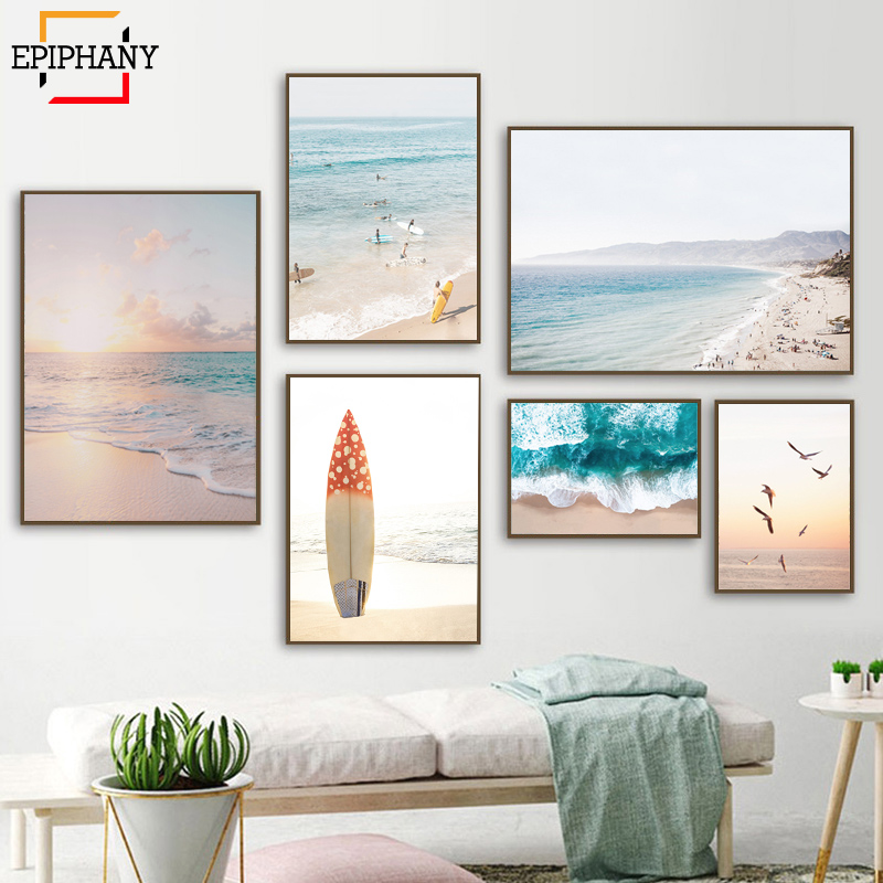 California Beach Wall Art Coastal Print Modern Boho Canvas Painting Surfing Aerial Waves Posters Wall Pictures for Living Room
