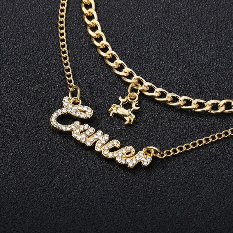 2020 тенденция двойной слой циркон ожерелье для женщин фианит 12 созвездия Зодиака кулон, ожерелье на шею цепи ювелирные изделия