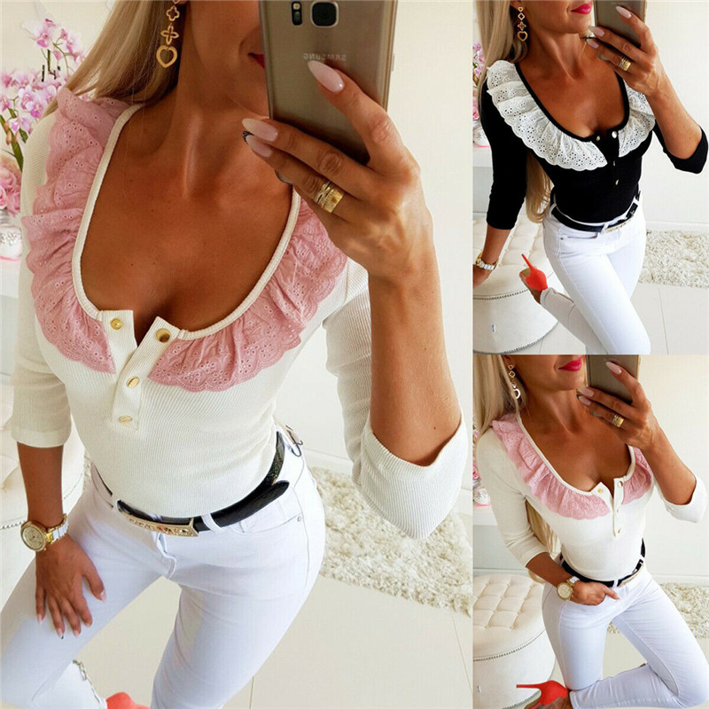 Fashion 2020 New Sexy Women Lace V Neck Long Sleeve T-Shirt Tops Outwear Floral Patchwork Bodycon Summer Casual Shirt Blouse Top