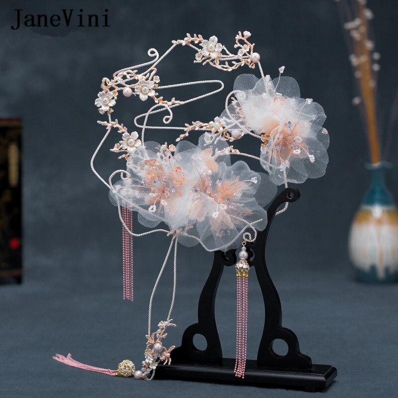JaneVini 2020 Newest Designer Bridal Fan Bouquets Pink Metal Floral Beaded Chinese Style Wedding Jewelry Holder Fan Trouw Boeket