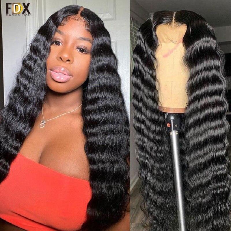 FDX 30 дюймовый Свободный парик с глубокой волной 13x6 HD, парик с фронтальной сеткой, бразильские человеческие волосы, парики для женщин 180% Remy 4x4 ...