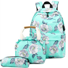 Teenagers Backpacks Girls 3 Pcs Bags Sets Nylon Middle School Student Girl Bookbag College Women Backpacks Casual Lady Packsack