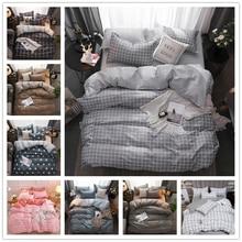 Classic bedding set 5 size grey blue grid summer bed linen 4pcs/set duvet cover set Pastoral bed sheet AB side duvet cover allover grid print sheet set