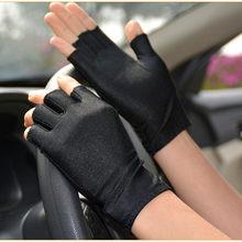 Guantes de medio dedo para mujer, guantes de lycra para primavera y verano, ajustados, elásticos, medio dedo, para ciclismo