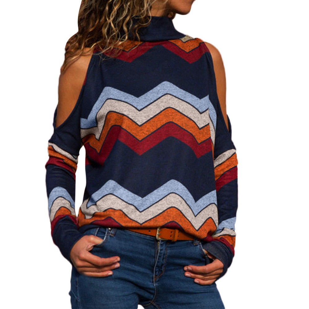 women blouses chiffon blouse Women Fashion Cold Shoulder Blouse Geometric Floral Print Jumper Ladies Top blusa dropshipping 2019