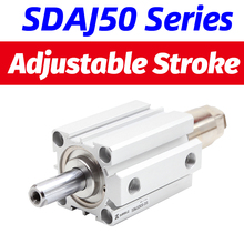 цена на SDAJ Adjustable stroke Air pneumatic cylinder bore 50 63mm stroke 5 - 100 mm Compact Cylinder SDAJ50X30-20S double acting