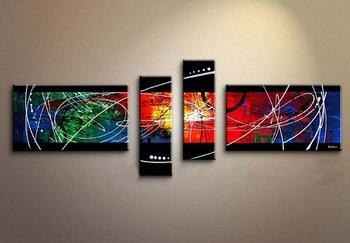 Abstract Oil Painting Geometric 4 Piece Handmade Modern Canvas Wall Art Graffiti for Living Room Wall Decor