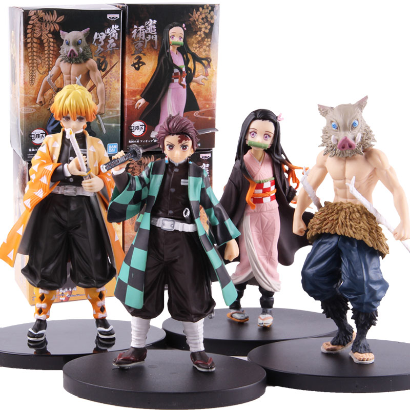 Demon Slayer Kimetsu No Yaiba Nezuko Kamado Tanjirou Hashibira Inosuke Zenitsu Agatsuma Figure Action PVC Collectible Model Toy