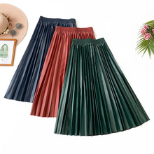 Wasteheart Autumn Winter Blue Green Women Skirts High Waist A-Line Mid Calf Clothing Plus Size Casual Faux Leather