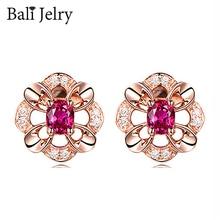 Bali Jelry 925 Silver Earrings Jewelry Accessories Flower Shape Ruby Zircon Gemstone Stud Earrings for Women Wedding Engagement