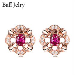 Bali Jelry 925 Silver Earrings Jewelry Accessories Flower Shape Ruby Zircon Gemstone Stud Earrings for Women Wedding Engagement