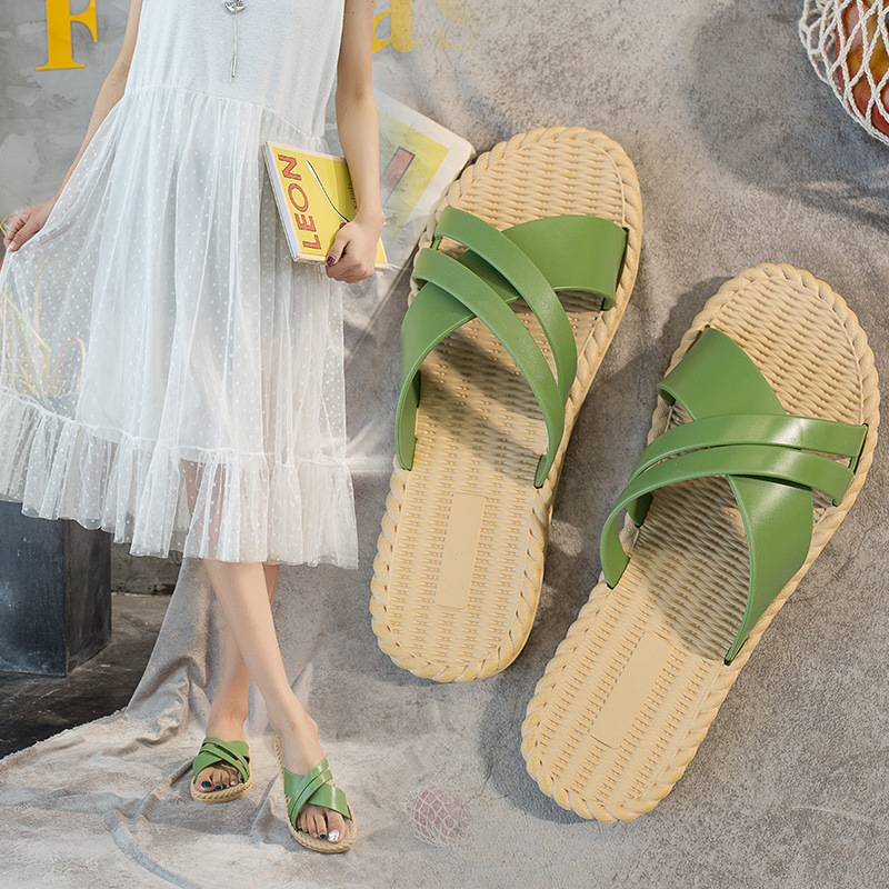 Non-slip Wear-resistant Outdoor Women Shoes Women Slippers Spring Summer Slides Sandals Fashion Slippers Shoes Green White Black