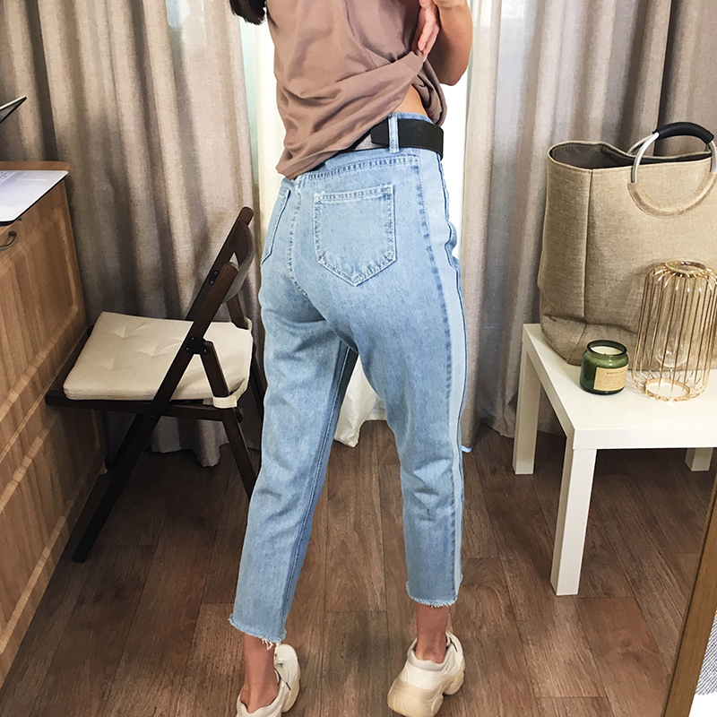 BIVIGAOS 19 New Spring Autumn Womens Cropped Jeans Korean Side Stitching Washed Denim Straight Pants Boyfriend Jeans For Women 4